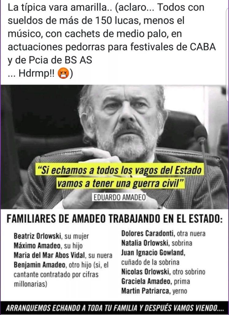 Familiares de Amadeo trabajando en el Estado